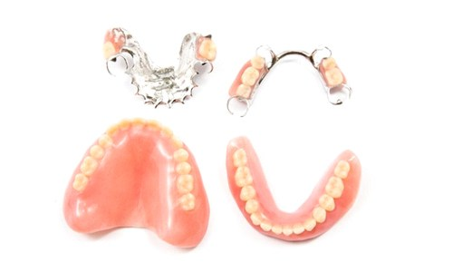 sets of full and partial dentures